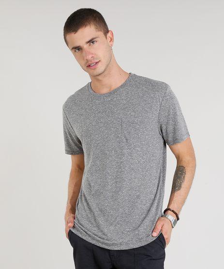 Camiseta-Masculina-com-Linho-e-Bolso-Manga-Curta-Gola-Careca-Cinza-Mescla-9248987-Cinza_Mescla_1