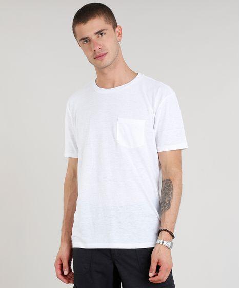 Camiseta Masculina com Linho e Bolso Manga Curta Gola Careca Branca ... f7b1ebfccc24f