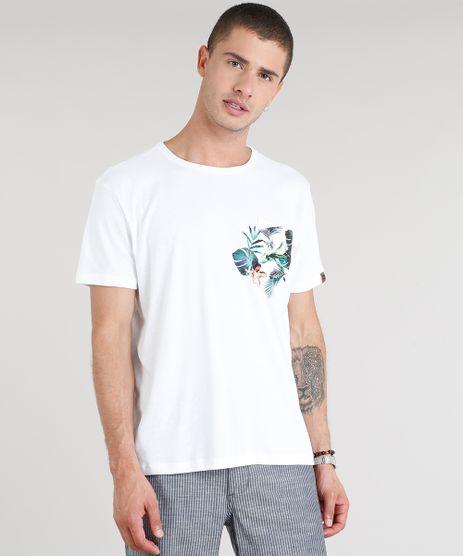Camiseta-Masculina-com-Bolso-e-Estampa-de-Folhagens-Manga-Curta-Gola-Careca-Branca-9304412-Branco_1