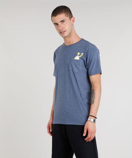 Camiseta-Masculina-Homer-Simpson-com-Bolso-Manga-Curta-Gola-Careca-Azul-9303784-Azul_1