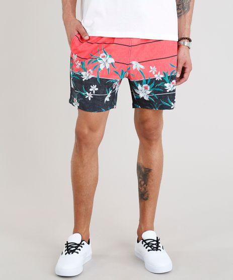 Short-Masculino-Estampado-Floral-com-Bolsos-Coral-9308697-Coral_1