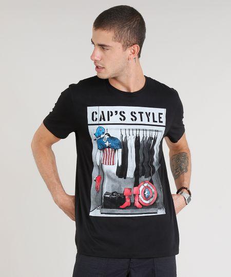fd6c509ce5 Camiseta Masculina Capitão América Manga Curta Gola Careca Preta -  ceacollections