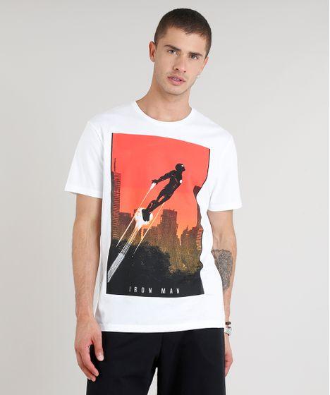 5dcfec41ad Camiseta Masculina Homem de Ferro Manga Curta Gola Careca Branca - cea