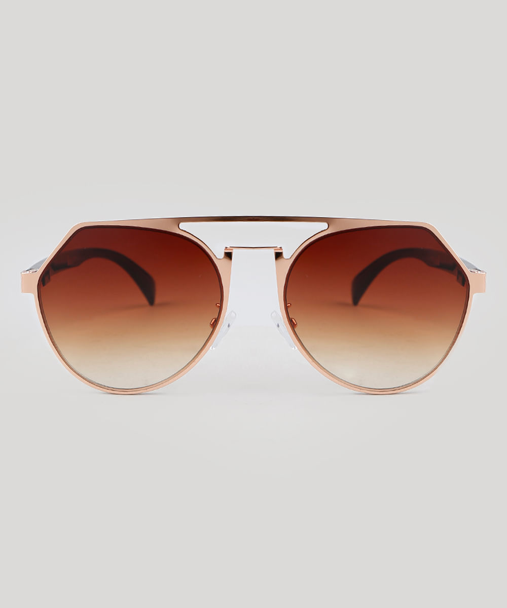 Óculos de Sol Redondo Feminino Oneself Dourado - Único 616a433956