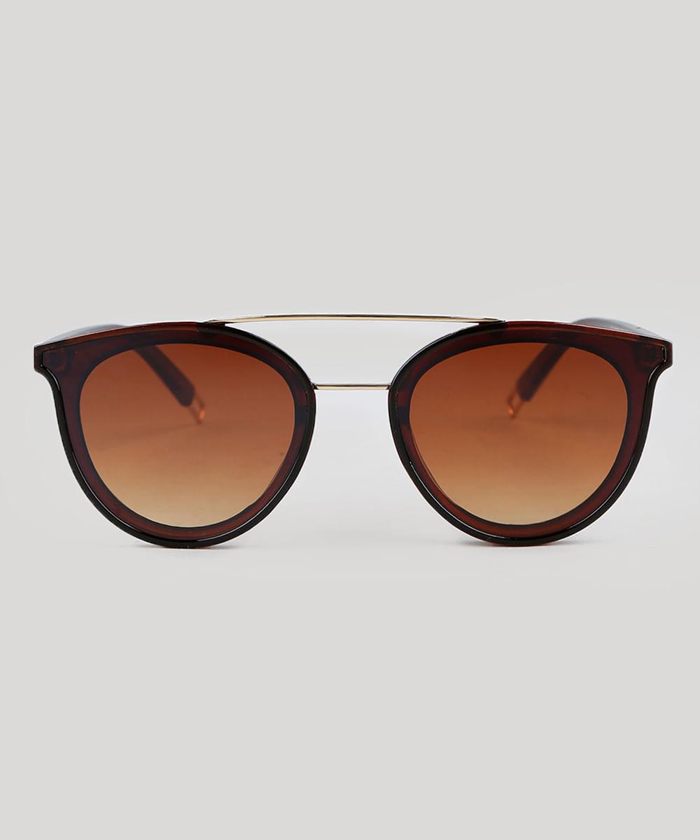 2943548fd50ad Óculos de Sol Redondo Feminino Oneself Marrom - ceacollections