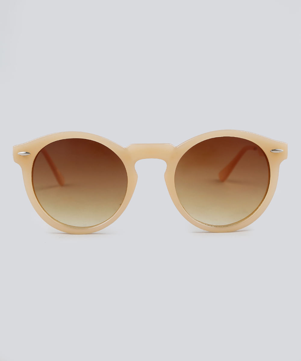 c56420302 Óculos de Sol Redondo Feminino Oneself Bege - ceacollections