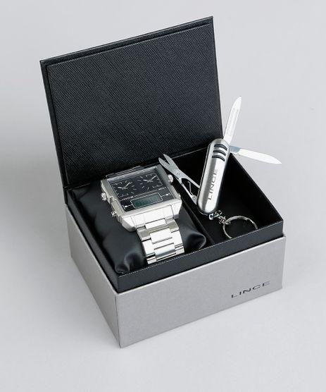 Kit-de-Relogio-Analogico-Lince-Masculino---Chaveiro-Canivete---KD41P1SX-Prateado-9396600-Prateado_1