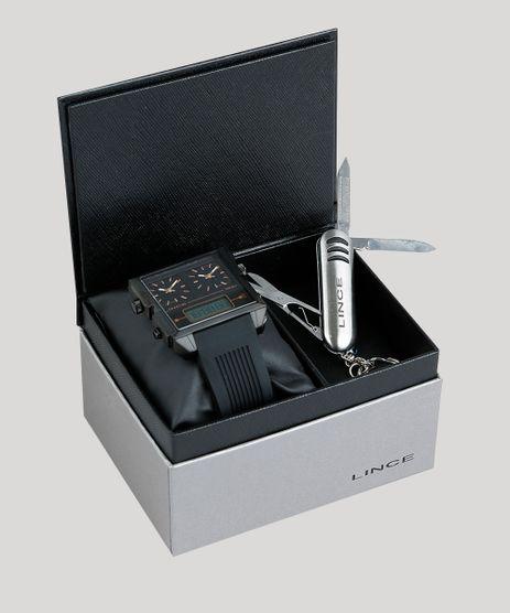 Kit-de-Relogio-Analogico-Lince-Masculino---Chaveiro-Canivete---KD43P1PX-Preto-9396606-Preto_1