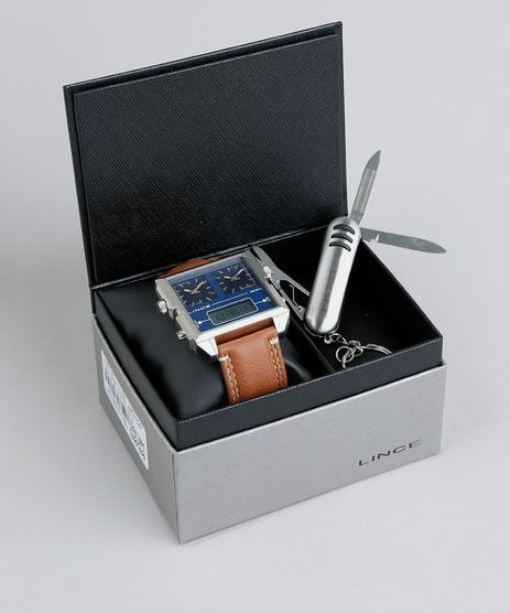 Kit-de-Relogio-Analogico-Lince-Masculino---Chaveiro-Canivete---KD40D1MX-Prateado-9397299-Prateado_1
