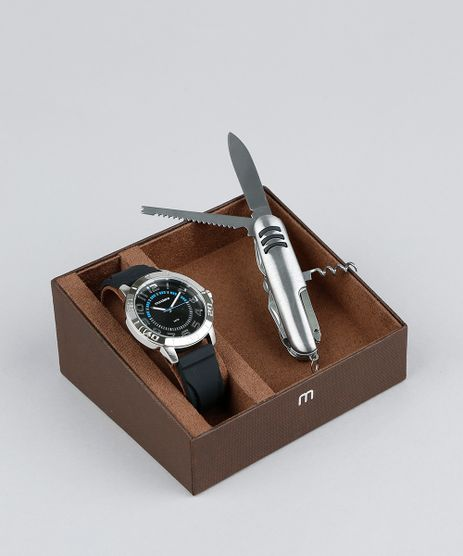 Kit-de-Relogio-Analogico-Mondaine-Masculino---Canivete---99358G0MVNI1KA-Preto-9377646-Preto_1