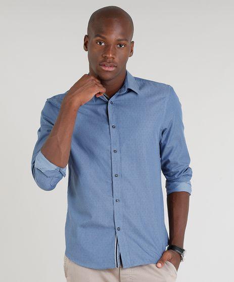 Camisa-Masculina-Comfort-Estampada-de-Poa-Manga-Longa-Azul-9095684-Azul_1