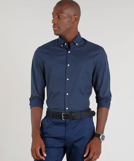 Camisa-Masculina-Comfort-Estampada-de-Poa-Manga-Longa-Azul-Marinho-9093243-Azul_Marinho_1