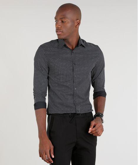 20e303b6e6 Camisa-Masculina-Slim-Estampada-Manga-Longa-Preta-9089566- ...