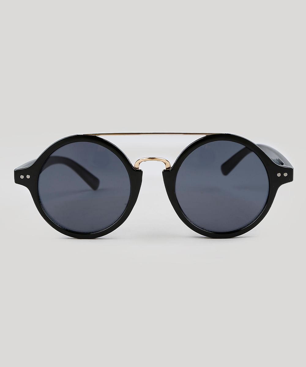 Óculos de Sol Redondo Feminino Oneself Preto - ceacollections 34a2c09ce3