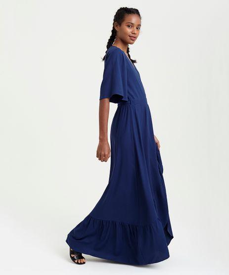Vestido-Feminino-Longo-Mindset-Transpassado-Manga-Curta-Decote-V-Azul-Marinho-9395460-Azul_Marinho_1