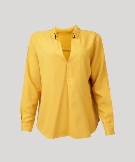 Camisa-Feminina-Oversized-Manga-Longa-Decote-V-Mostarda-9296967-Mostarda_2