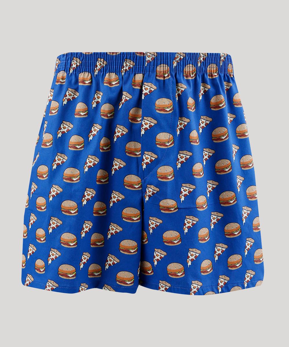 ee4adcfab Samba Canção Masculina Estampada de Pizza e Hambúrguer Azul Royal - cea