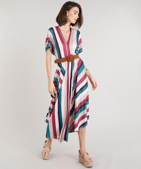 Vestido-Feminino-Midi-Amplo-Listrado-Manga-Curta-Decote-V-Bege-9332406-Bege_1