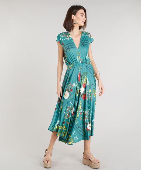 Vestido-Feminino-Midi-Amplo-Estampado-Floral-Manga-Curta-Decote-V-Verde-9332405-Verde_1