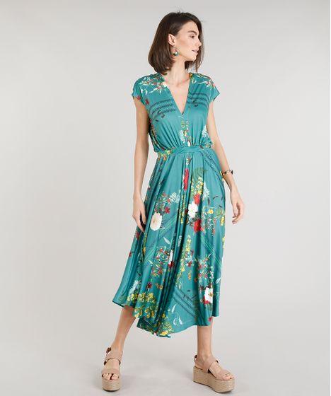 Vestido verde estampado flores