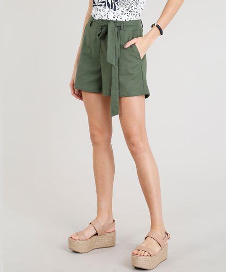 Short-Feminino-em-Linho-com-Faixa-Verde-Militar-9327280-Verde_Militar_1