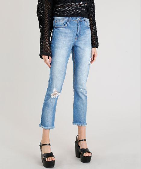 8ad1f603d Calça Jeans Feminina Reta Vintage com Rasgos Azul Claro - cea