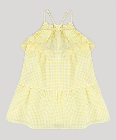 Vestido-Infantil-Estampado-Xadrez-Vichy-com-Babados-Amarelo-9182780-Amarelo_1