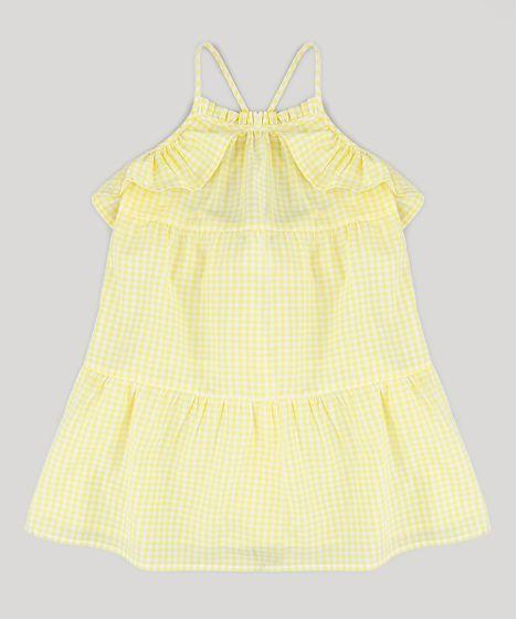 59fff3c1d Vestido Infantil Estampado Xadrez Vichy com Babados Amarelo - cea