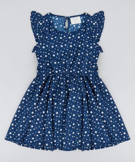 Vestido-Infantil-Estampado-de-Estrelas-com-Babado-Sem-Manga-Azul-Marinho-9182810-Azul_Marinho_1