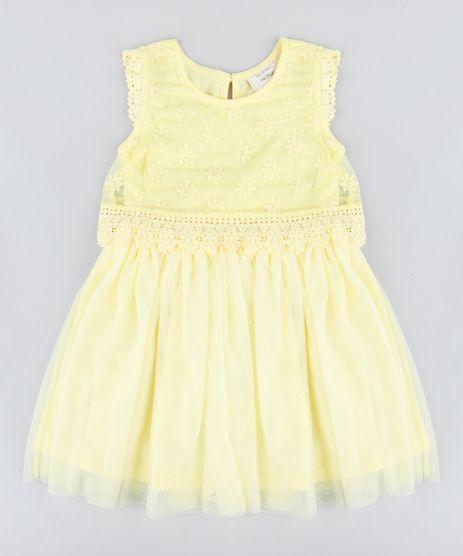 Vestido-Infantil-em-Tule-com-Renda-Sem-Manga-Amarelo-9203707-Amarelo_1