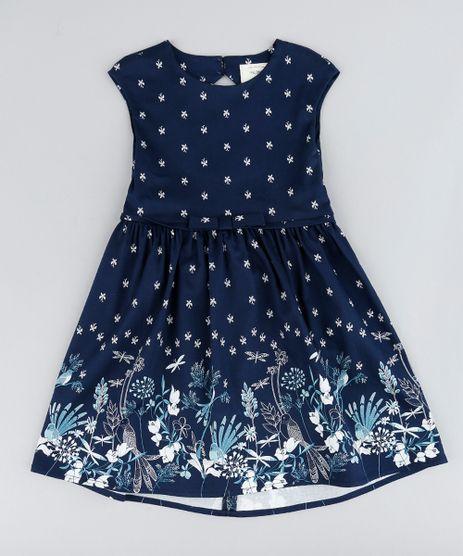 Vestido-Infantil-Estampado-de-Borboletas-com-Laco-e-Vazado-Sem-Manga-Azul-Marinho-9207229-Azul_Marinho_1