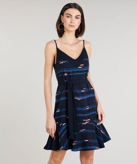 Vestido-Feminino-Curto-Estampado-com-Faixa-Alcas-Finas-Decote-V-Azul-Marinho-9185833-Azul_Marinho_1