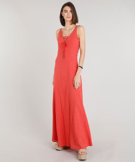 Vestido-Feminino-Longo-com-Lace-Up-Alcas-Finas-Decote-V-Coral-9201362-Coral_1