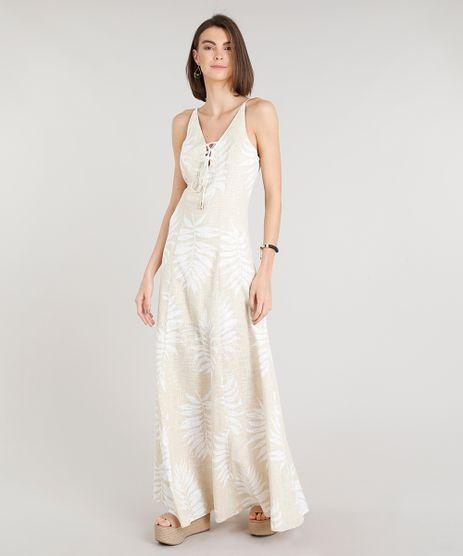 Vestido-Feminino-Longo-Estampado-de-Folhagens-com-Lace-Up-Alcas-Finas-Decote-V-Bege-Claro-9201363-Bege_Claro_1
