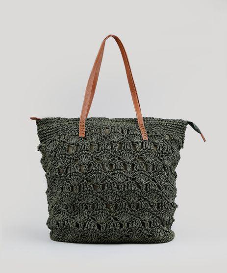 Bolsa-de-Praia-Feminina-Shopper-de-Palha-Verde-Militar-9198313-Verde_Militar_1