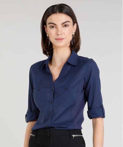 547fa68fe0e29 Camisa Feminina com Recorte Canelado Manga Curta Azul Marinho - cea