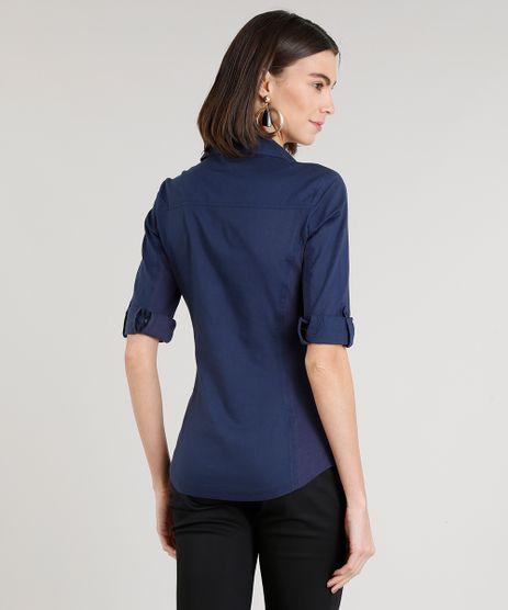 4146d090a215d Camisa-Feminina-com-Recorte-Canelado-Manga-Curta-Azul-