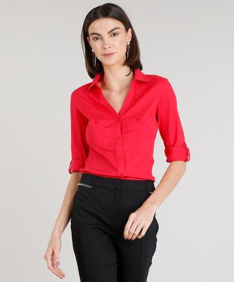 3b8215b7a749a Camisa-Feminina-com-Recorte-Canelado-Manga-Curta-Vermelha-