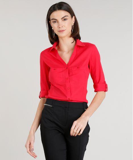 bf4ccff517f6d Camisa Feminina com Recorte Canelado Manga Curta Vermelha - cea