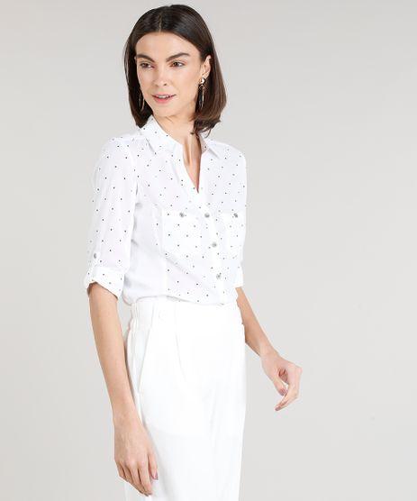 Camisa-Feminina-Estampada-de-Poa-com-Recorte-Canelado-Manga-Curta-Off-White-9250019-Off_White_1