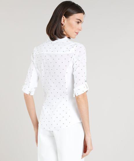 Camisa-Feminina-Estampada-de-Poa-com-Recorte-Canelado- 79f0f8108365b