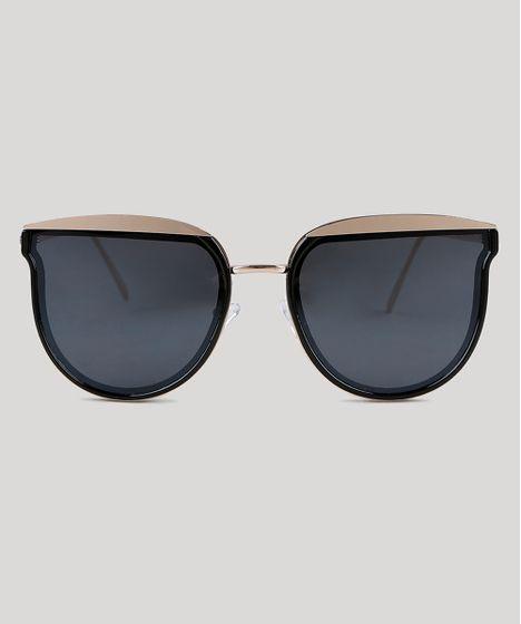 Oculos-de-Sol-Redondo-Feminino-Oneself-Dourado-9351282- ... 7526458d57