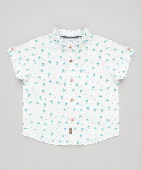 c776a2ac0d Camisa-Infantil-Estampada-de-Coqueiros-com-Bolso-em-