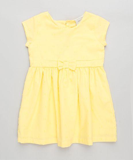 Vestido-Infantil-com-Laco-e-Estrela-Vazada-Manga-Curta-Decote-Redondo-Amarelo-9245118-Amarelo_1