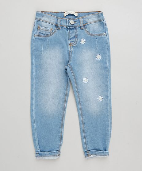 Calca-Jeans-Infantil-Bordado-de-Margaridas-Azul-Claro-9333527-Azul_Claro_1