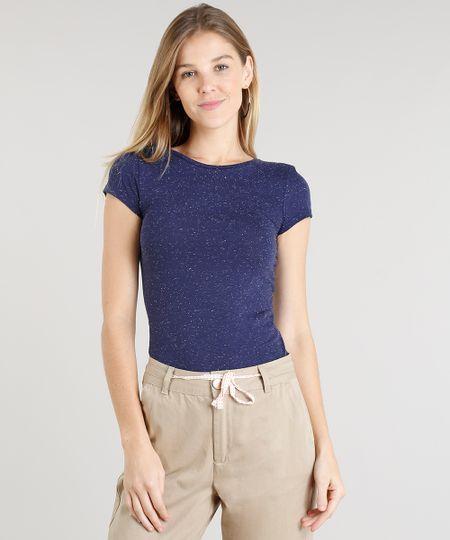 40a34ef26 Menor preço em Blusa Feminina Básica Botonê Manga Curta Decote Redondo Azul  Marinho