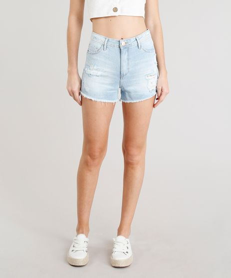 Short-Jeans-Feminino-Vintage-Destroyed-com-Barra-Desfiada-Azul-Claro-9354765-Azul_Claro_1