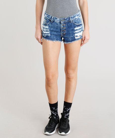 Short-Jeans-Feminino-Destroyed-Curto-com-Botoes-Azul-Escuro-9365664-Azul_Escuro_1