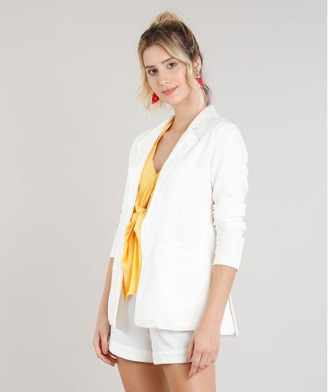 0689b350b9 Blazer Feminino com Bolsos em Linho Off White - cea