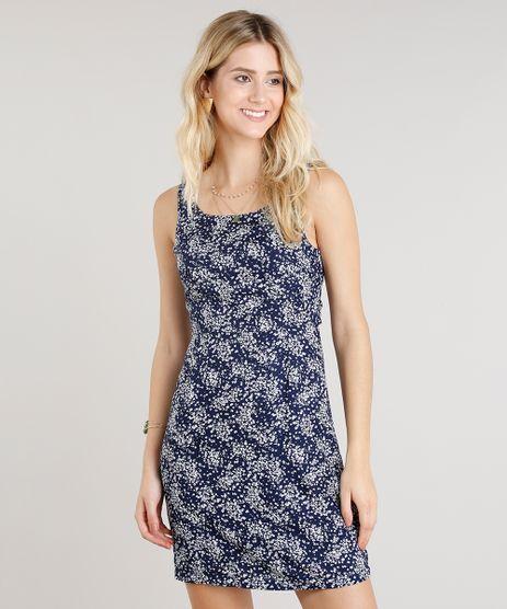 Vestido-Feminino-Curto-Estampado-Floral-com-No-Decote-Redondo-Azul-Marinho-9256670-Azul_Marinho_1